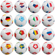 European soccer balls - Stockfoto