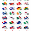 Stock Photo: Soccer Balls and flags