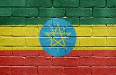 Flag of Ethiopia on brick wall — Stock Photo