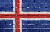Flag of Iceland on brick wall — Stock Photo