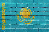 Flag of Kazakhstan on brick wall — Stock Photo