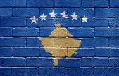 Flag of Kosovo on brick wall — Stock Photo