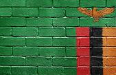Flag of Zambia on brick wall — Stock Photo