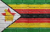 Flag of Zimbabwe on brick wall — Stock Photo