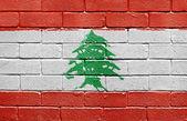 Flag of Lebanon on brick wall — Stock Photo