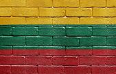 Flag of Lithuania on brick wall — Stock Photo