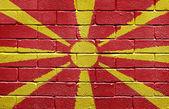 Flag of Macedonia on brick wall — Stock Photo