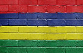 Flag of Mauritius on brick wall — Stock Photo
