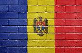 Flag of Moldova on brick wall — Stock Photo