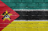 Flag of Mozambique on brick wall — Stock Photo