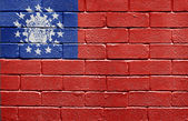 Flag of Myanmar on brick wall — Stock Photo