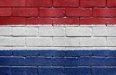 Flag of Netherlands on brick wall — Stock Photo