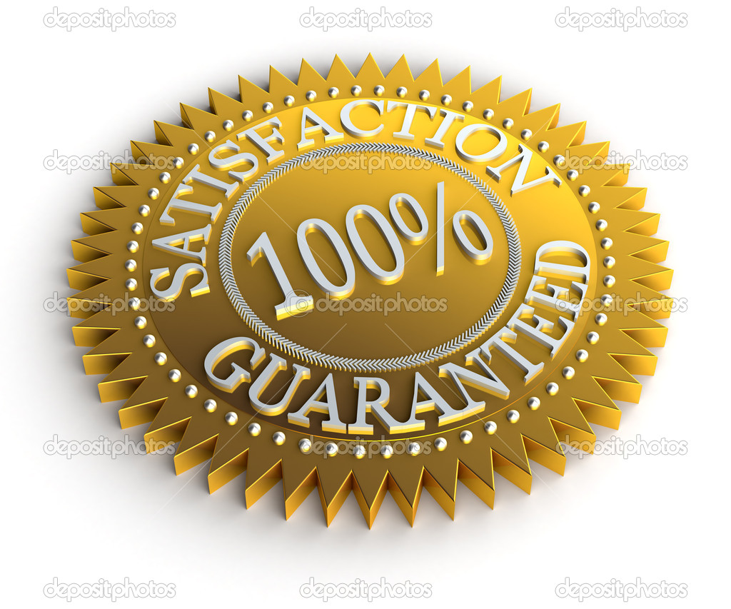 Isolated Satisfaction Guaranteed seal over white — Stock Photo #5405758