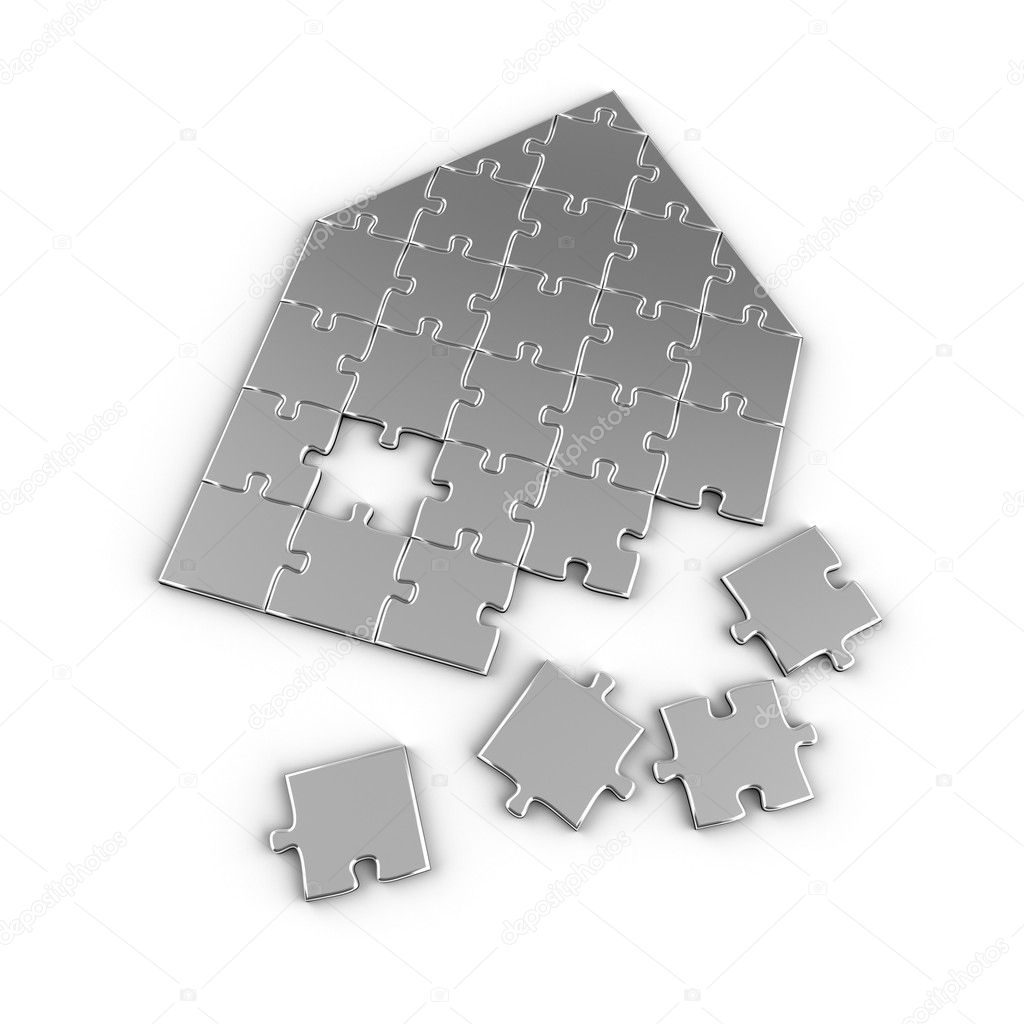 House concept with puzzle pieces over white background  Stock Photo #5406609