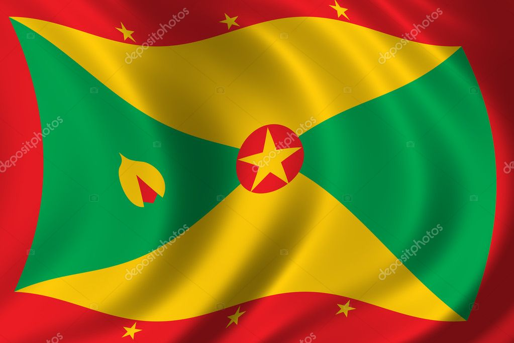 Flag of Grenada waving in the wind — Foto Stock #5440405