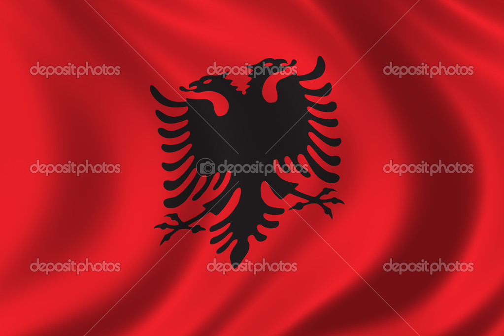 Albanian Flag Waving Flag of Albania Waving in The