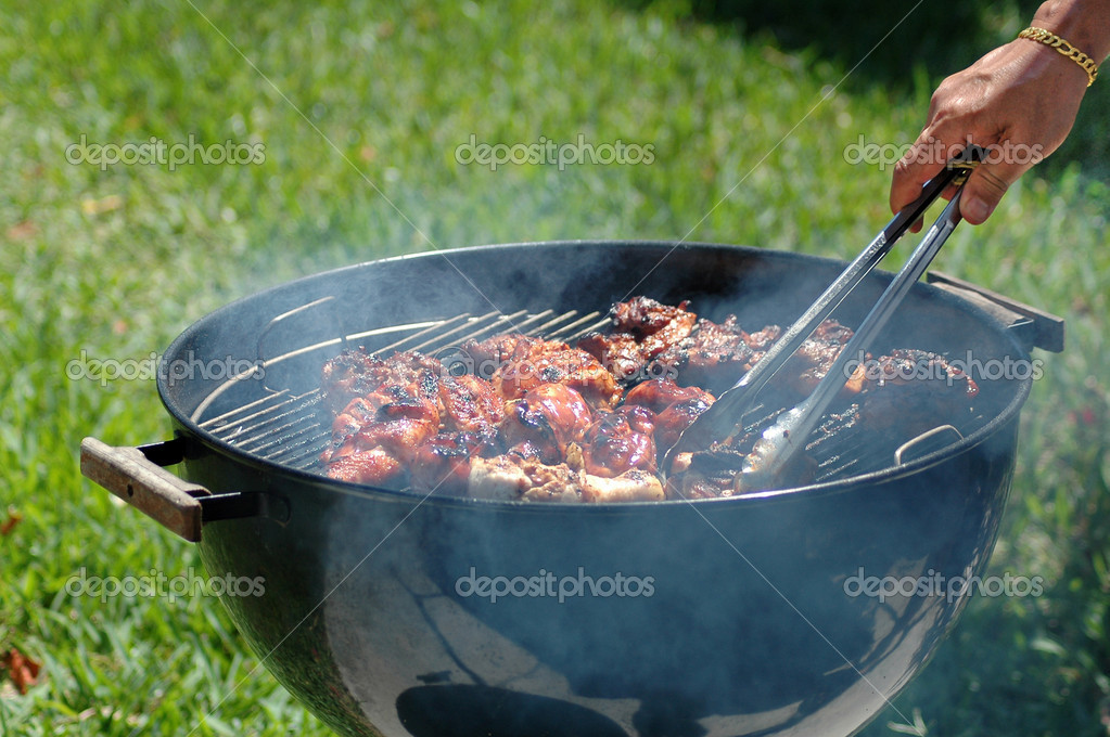Barbecue grill with chicken on it — Stock Photo #5449047