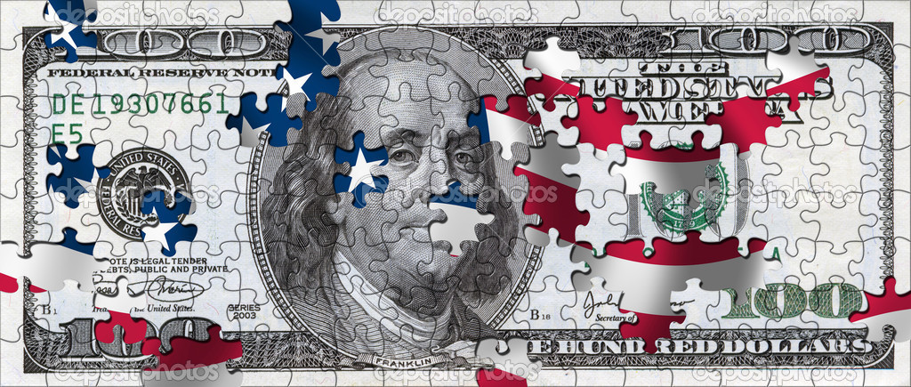 100 Dollar Bill as a puzzle with missing pieces and us flag in the background  — Stock Photo #5449124