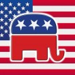 American flag with the republican party's elephant on it — Stock Photo #5465974