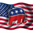 American flag with the republican party's elephant on it — Stock Photo #5465978