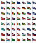 2 / 4 dünya bayrakları ayarlayın — Stockfoto