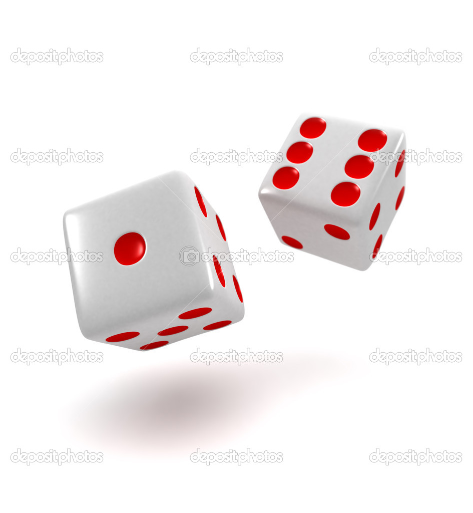 Two dice rolling over white background — Stock Photo #5481423