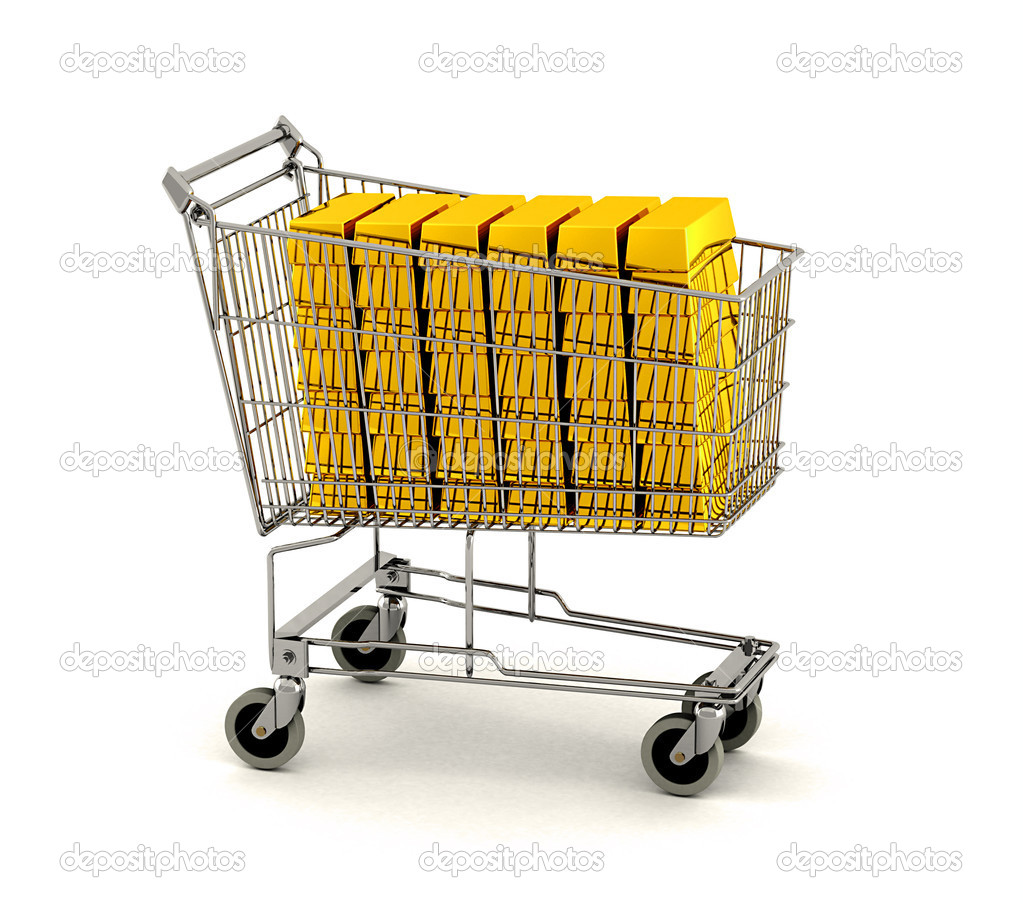 Shopping cart full of gold bars over white background — Stock Photo #5481629