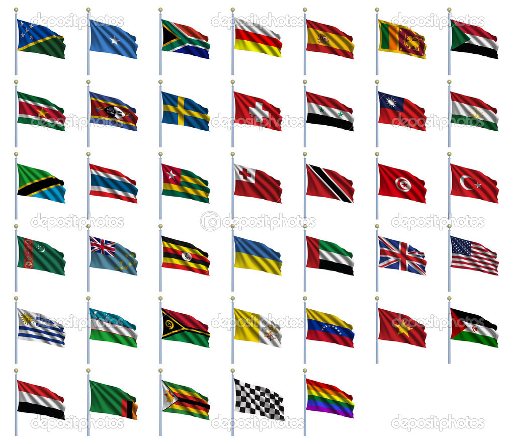 World Flags Set 4 of 4 - S to Z - set of flags in alphabetical order from Solomon Islands to Zimbabwe — Stock Photo #5486939