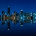 Miami skyline night panorama — Stock Photo