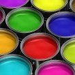 Colorful paint buckets — Stock Photo