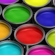 Colorful paint buckets — Stockfoto