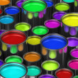 Colorful paint buckets - Stock Photo
