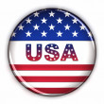 Patriotic USA button — Stock Photo
