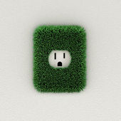 Green electrical outlet — Stock Photo