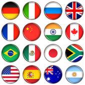 各种国家按钮 — 图库照片