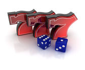 Lucky sevens and dice — Stock Photo