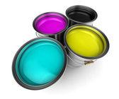 Wiader farby kolor Cmyk — Zdjęcie stockowe