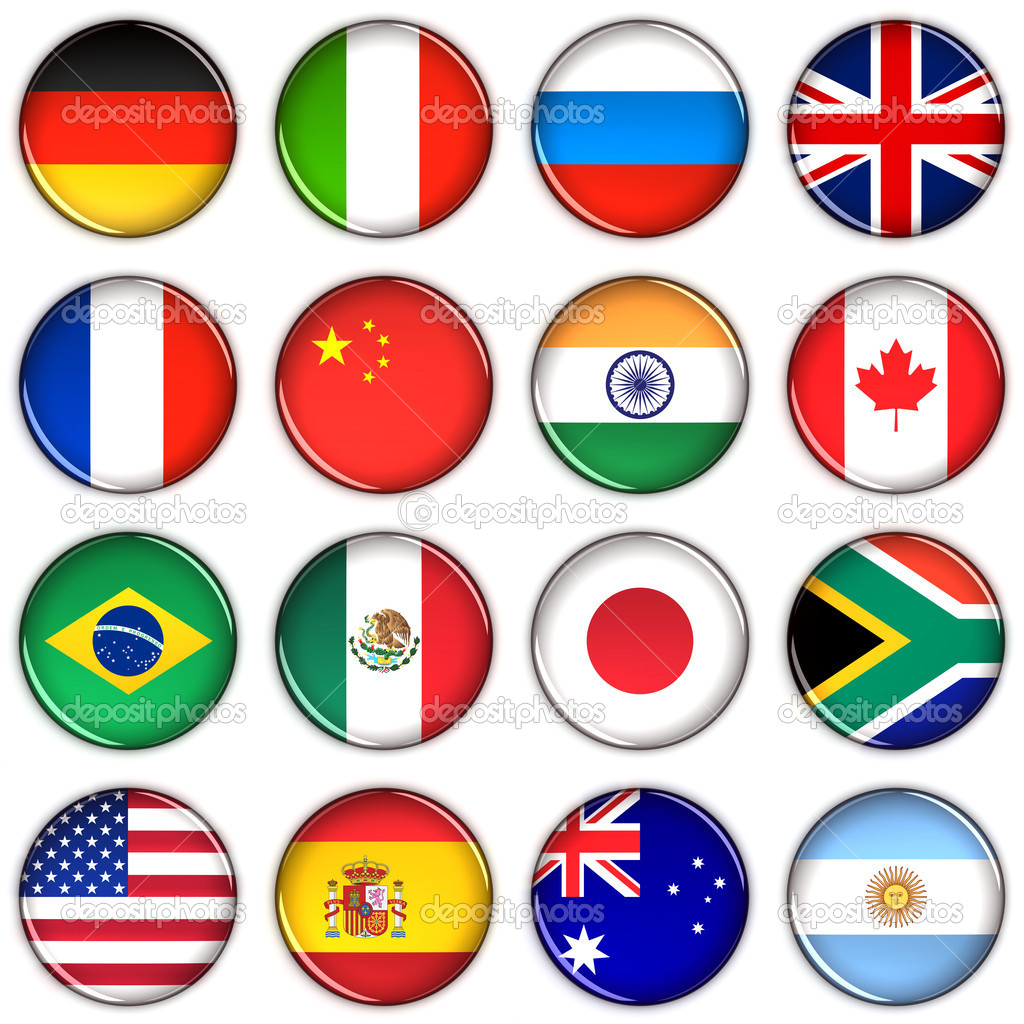 Various country buttons over white background  Stock Photo #5534989