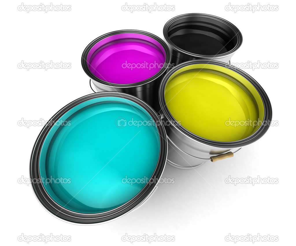 Four paint buckets filled with CMYK colors — Stock Photo #5535444
