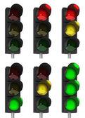 Traffic light combinations — Stock Photo