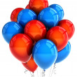 Foto Stock: Red and blue party ballooons