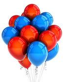 červené a modré strany ballooons — Stock fotografie