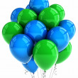 Green and blue party balloons - Foto Stock