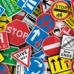 Many British traffic signs — Stock Photo