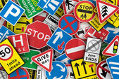 Many British traffic signs — Fotografia Stock