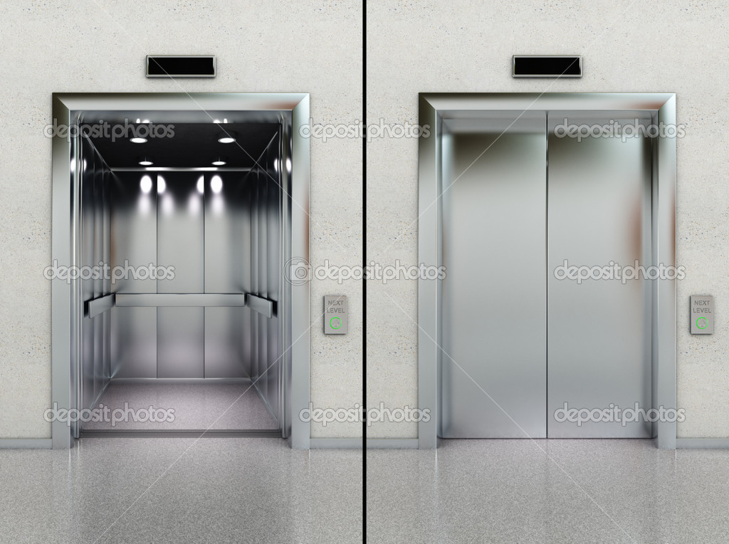 Two images of a modern elevator with opened and closed doors — Stock Photo #6151900