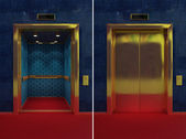 Open and closed elevator — Stock Photo