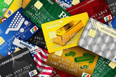 Pile of credit cards — Stockfoto