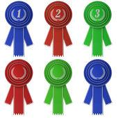 Set of six award ribbons — Stock Photo