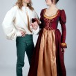 Beautiful couple of medieval costumes — Stock Photo